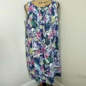 J Jill Love Linen Tropical Floral Dress Size M
